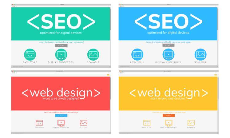 Vier Beispiele fuer SEO Webdesign rot blau gelb gruen