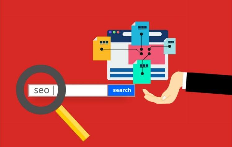 Struktur Suchmaschine mit Lupe auf seo