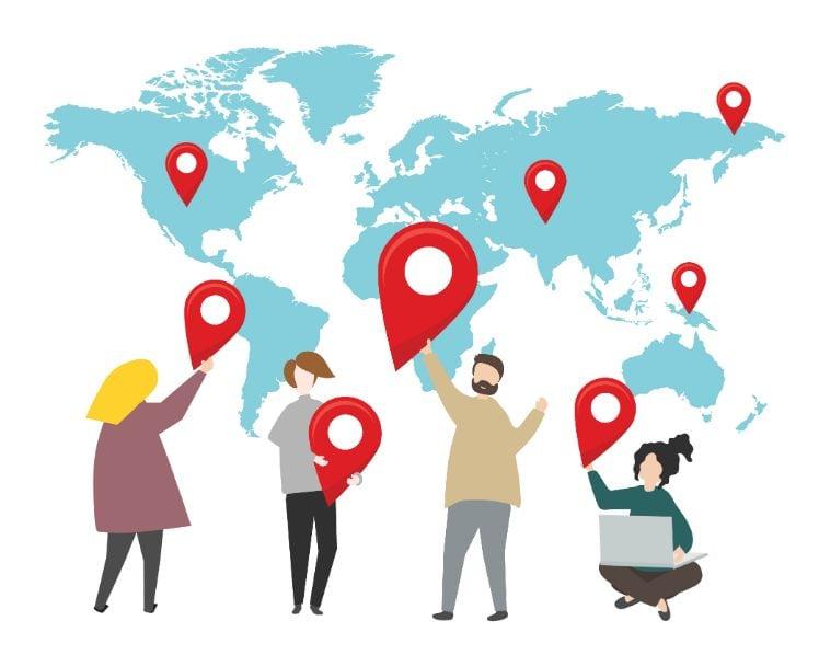 Abbildung einer Weltkarte mit diversen Leuten und Standorten dargestellt