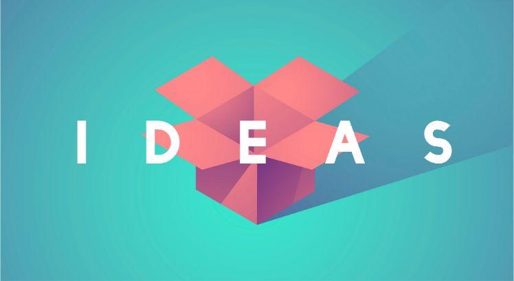 rote box vor blauem Hintergrund mit ideas in weisser Schrift