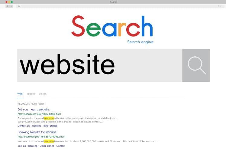 screenshot von suchmaschine mit einem Fehler