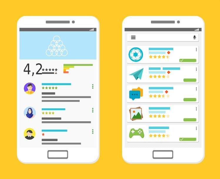 Darstellung von zwei Smartphones mit Bewertungen von Apps in App Stores