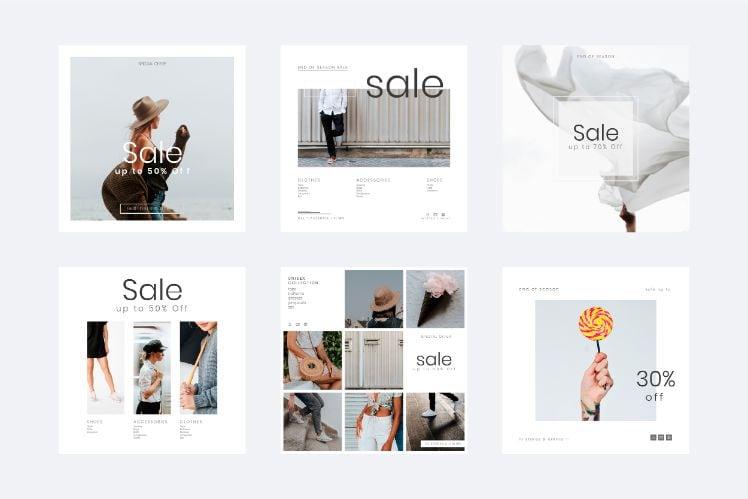 diverse layouts und designs eines ecommerce online shop