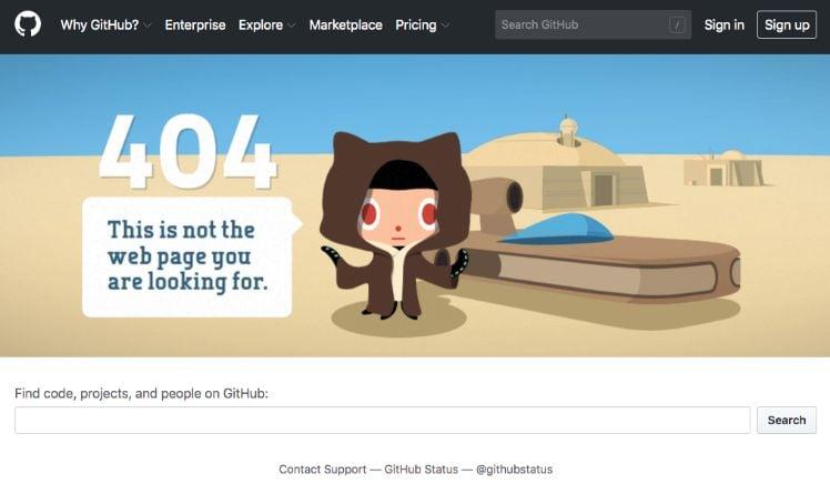 Screenshot einer Website mit Beispiel 404 Fehler einer Website