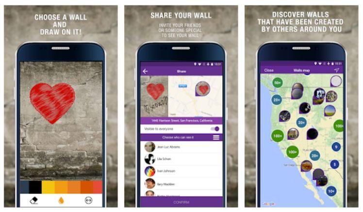 screenshots von der app wallame