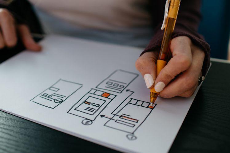Mensch zeichnet App Wireframes für Mobile Game Design