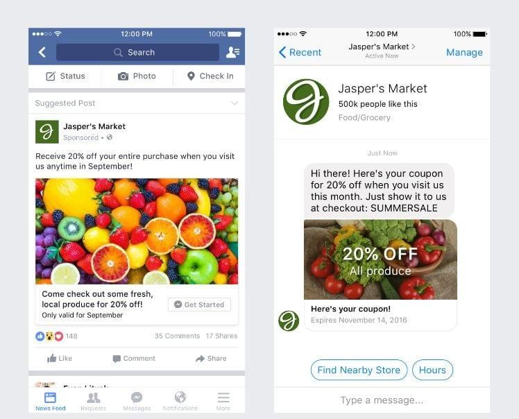 Beispiel für Click-on Messenger Anzeigen
