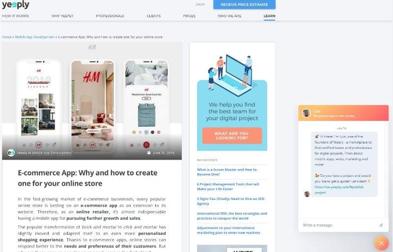 Chatbot auf der Seite von Yeeply
