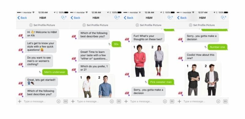 Geführtes Einkaufserlebnis von H&M durch e commerce chatbots